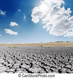 青, 土地, 太陽, 世界的である, 空, clouds., 暑い, 干ばつ, 暖まること