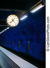青, 地下鉄, 列車, スウェーデン, 駅, ストックホルム, 色