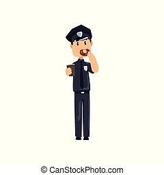 青, 地位, コーヒー, 警察, 保有物, 警官, 背景, カップ, 特徴, イラスト, ユニフォーム, ベクトル, 士官, ドーナツ, 白, 漫画