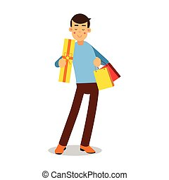 青, 地位, 購入, ライト, 特徴, 若い, イラスト, プルオーバー, ベクトル, 微笑, ブロンド, 漫画, 人
