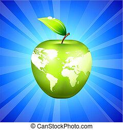青, 地図, アップル, 地球, 背景, 世界