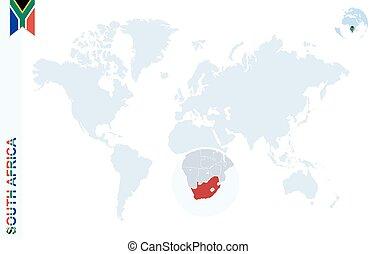 青, 地図, アフリカ。, 世界, 拡大する, 南