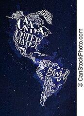青, 地図, アメリカ, 型