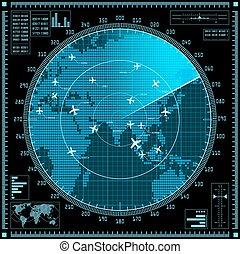 青, 地図, スクリーン, レーダー, 飛行機, 世界