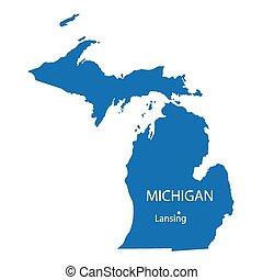 青, 地図, ミシガン州