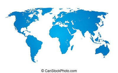 青, 地図, 世界