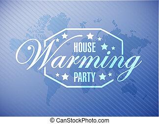 青, 地図, 家, 印, 背景, パーティー, 暖まること