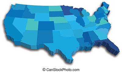 青, 地図, 州, アメリカ, 3d