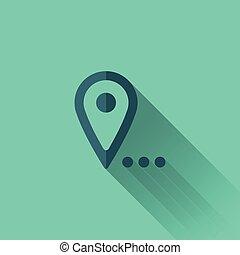 青, 地図, 平ら, デザイン, icon., ポインター