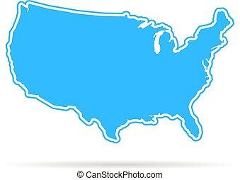 青, 地図, 影, アウトライン, アメリカ