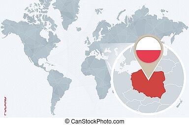 青, 地図, 抽象的, ポーランド, 拡大される, 世界