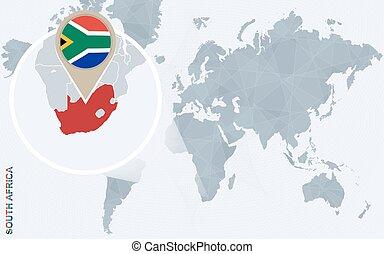 青, 地図, 抽象的, 拡大される, アフリカ, 世界, 南