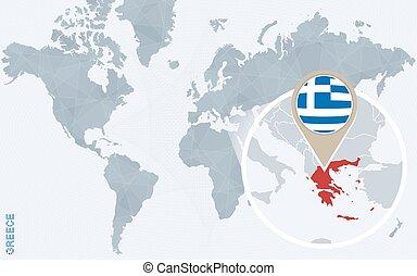 青, 地図, 抽象的, 拡大される, 世界, ギリシャ