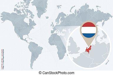 青, 地図, 抽象的, 拡大される, 世界,  netherlands