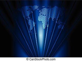青, 地図, 暗い, ベクトル, デザイン, 世界