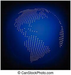 青, 地図, 点を打たれた, 地球, 壁紙, -, イラスト, バックグラウンド。, ベクトル, 地球, 世界, 抽象的