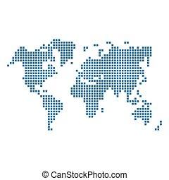 青, 地図, 点を打たれた, 隔離された, ベクトル, white., 世界