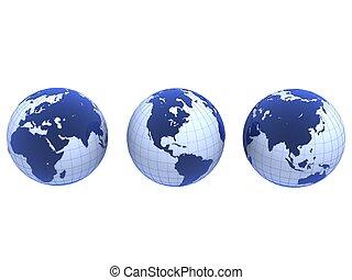青, 地球儀