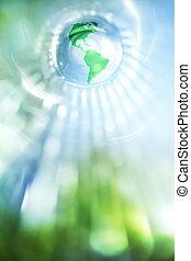 青, 地球, 緑の背景
