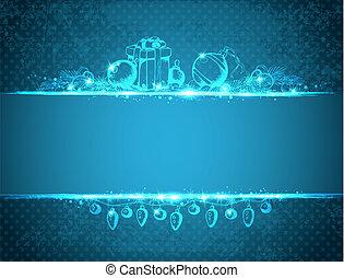 青, 型, クリスマス, 背景