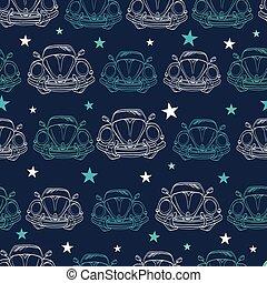 青, 型, 古い, 自動車, pattern., seamless, 暗い, ベクトル, 車。, 星, バンパー, 前部...