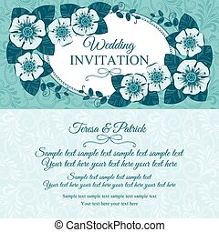 青, 型, 結婚式の招待, カード