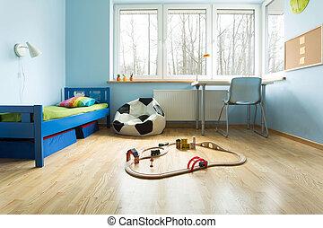 青, 壁, 部屋, 男の子