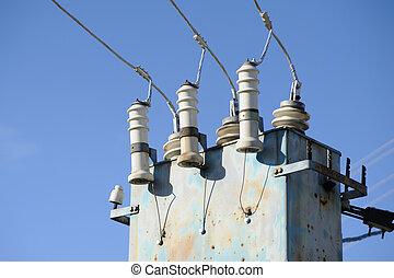青, 変圧器, 電気, 空, に対して, 高く, 駅, 電圧