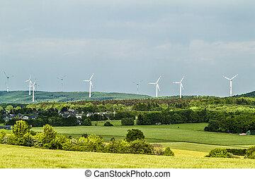 青, 夏, ゆとり, 前景, エネルギー, 空, 町, 源, 村, 回復可能, 風タービン, ∥あるいは∥, 風景