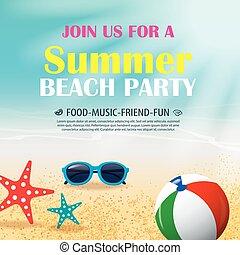 青, 夏, ポスター, 招待, 休暇, 要素, バックグラウンド。, ベクトル, water., パーティー, 浜