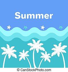 青, 夏, ポスター, 木, やし, 海, 波
