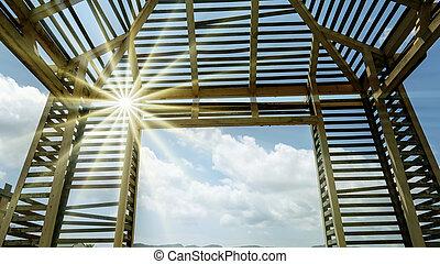 青, 夏, 作られた, 金属, ゆとり, 現代, 空, 木, デザイン, 背景