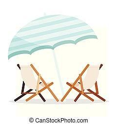 青, 夏, 傘, 木製である, 2, 隔離された, バックグラウンド。, longues, chaise, 白, 休日...
