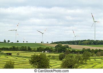 青, 夏, 前景, エネルギー, 空フィールド, 源, 回復可能, 風タービン, ゆとり, 風景