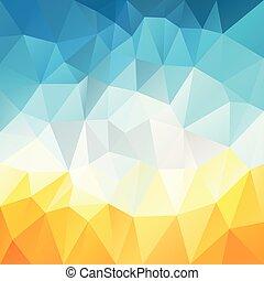 青, 夏, 広場, 三角形, 背景, きずもの, 色, パターン, 抽象的, -, 熱い黄色, polygonal, 砂, ベクトル, poly, の上, 白い空, 浜, 低い