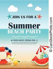 青, 夏, 木製である, ポスター, water., 休暇, 要素, バックグラウンド。, ベクトル, 招待, パーティー, 浜