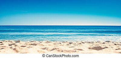 青, 夏, 概念, 休暇, 波, 浜。, 海洋, 砂