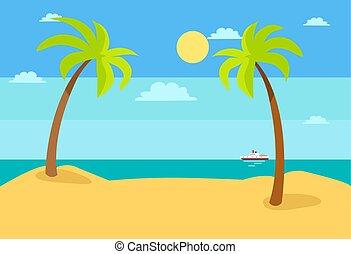 青, 夏, 空, 暑い, 砂の 海, 浜, 風景