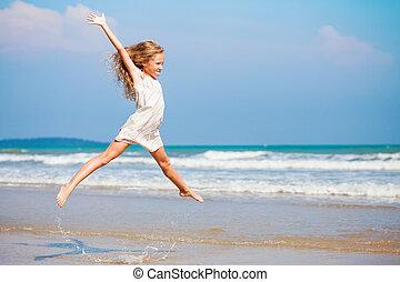 青, 夏, 飛行, 休暇, ジャンプ, 海岸, 海, 女の子, 浜