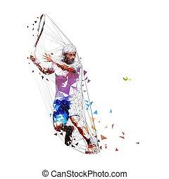 青, 夏, illustration., ワイシャツ, 人々, ベクトル, テニス, 隔離された, poly, プレーヤー, ショートパンツ, 個人, tennis., 低い, 活動的, 白, 人, sport., 遊び, 成人