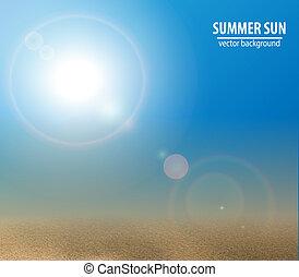 青, 夏, illustration., 空, ベクトル, sun.