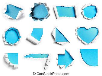 青, 多数, 引き裂かれた, 形。, コレクション, ペーパー, デザイン, 背景, 準備ができた, 白, あなたの