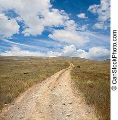 青, 大きい空, 砂漠, 道