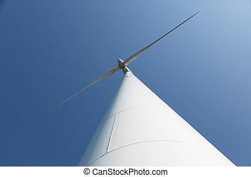 青, 大きい空, 見る, タービン, 風, 上向きに