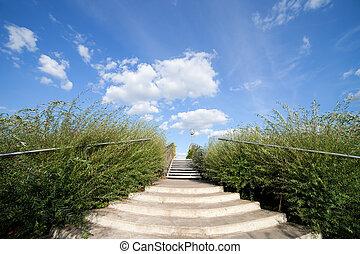 青, 大きい空, 階段