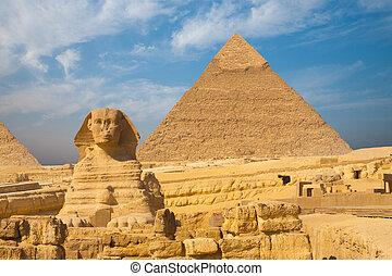 青, 大きい ピラミッド, スフィンクス, 晴れわたった空, ギザ