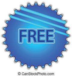 """青, 大きい, ボタン, ラベルをはられた, """"free"""""""