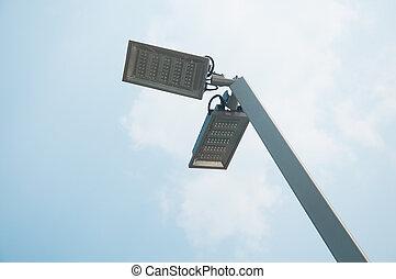 青, 大きい, ランプ, 通り, 空