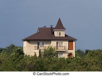 青, 大きい, 上に, 現代, 空, 贅沢, 新しい 家