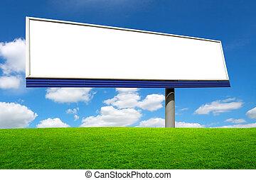 青, 大きい, 上に, 空, ブランク, 広告板